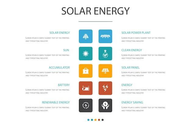 Concept d'option d'infographie 10 d'énergie solaire. soleil, batterie, énergie renouvelable, icônes simples d'énergie propre