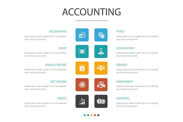 Concept d'option d'infographie comptable 10. actif, rapport annuel, revenu net, icônes simples de comptable