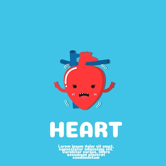 Concept d'organe humain de dessin animé coeur.