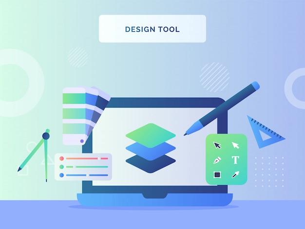Concept d'outil de conception couleur de palette de couche de stylo sur écran d'ordinateur portable avec style