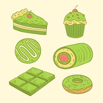Concept de pack de desserts au matcha