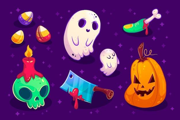 Concept de pack d'éléments halloween