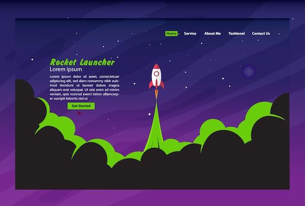 Concept de page d'atterrissage de lance-roquettes