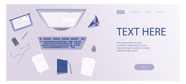 Concept de page de connexion avec illustration du bureau de vue d'angle supérieur du lieu de travail