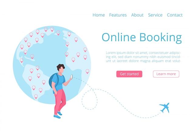 Concept de page de destination d'application mobile de réservation mondiale