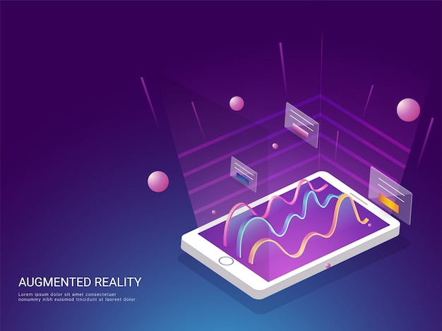 Concept de page de destination basé sur le concept de réalité augmentée.