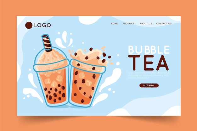 Concept de page de destination bubble tea
