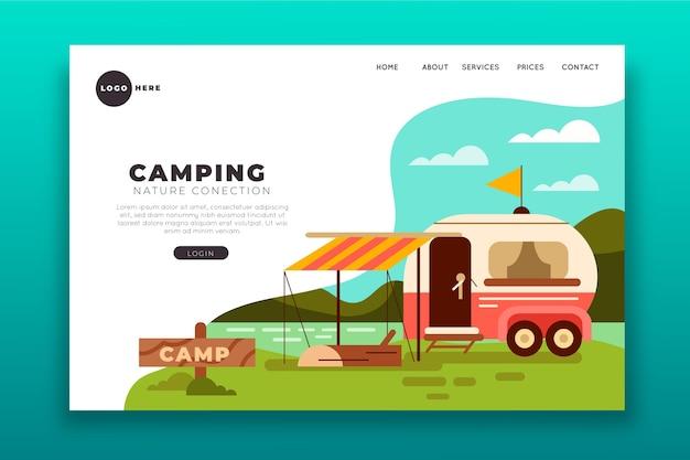 Concept de page de destination de camping