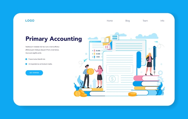 Concept de page de destination comptable