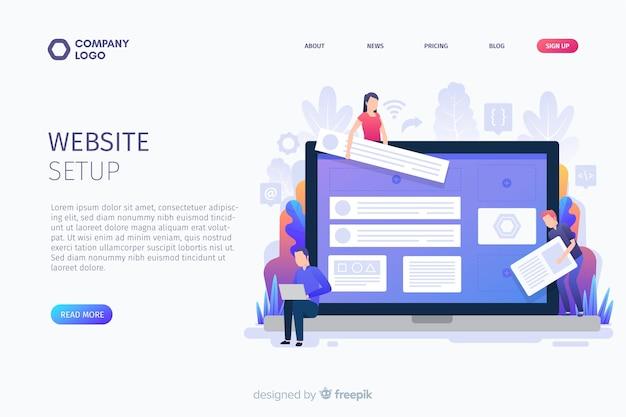 Concept de page de destination de configuration de site web