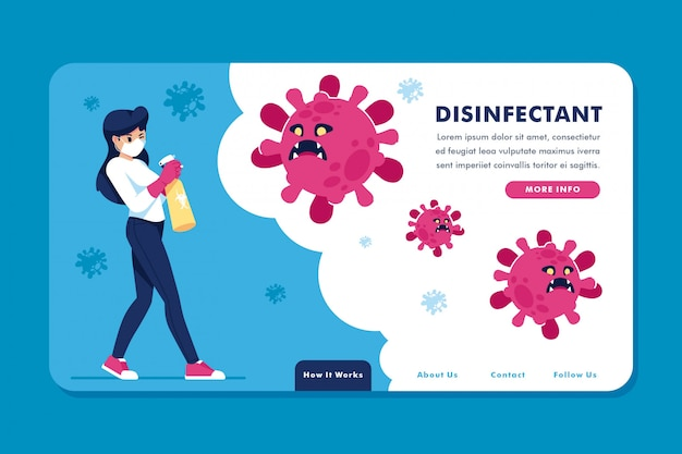 Concept de page de destination créative désinfectante