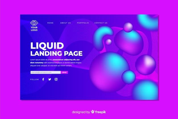 Concept de page de destination avec effet liquide
