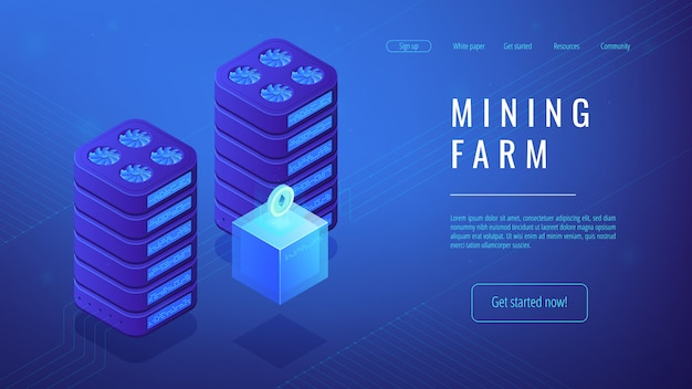 Concept de page de destination de ferme minière isométrique.