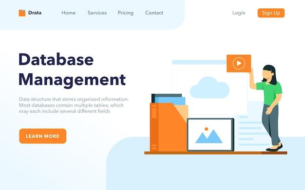Concept de page de destination de gestion de base de données femme organiser le document