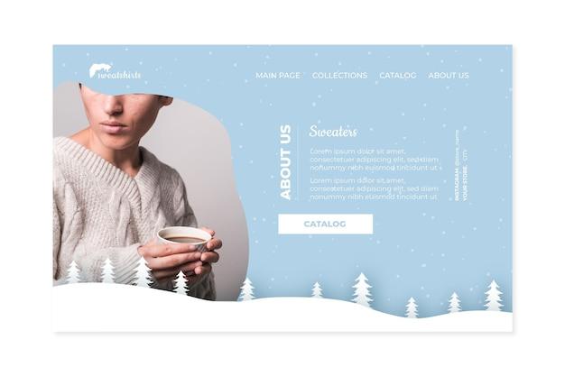 Concept de page de destination d'hiver