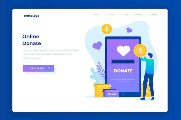 Concept de page de destination illustration don de charité