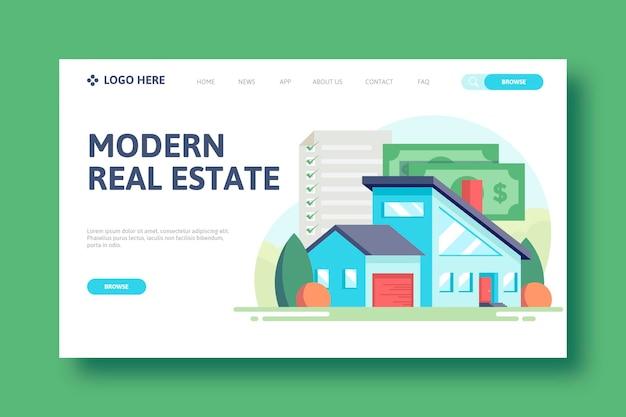Concept de page de destination immobilière