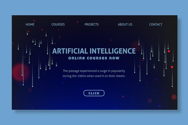 Concept de page de destination d'intelligence artificielle