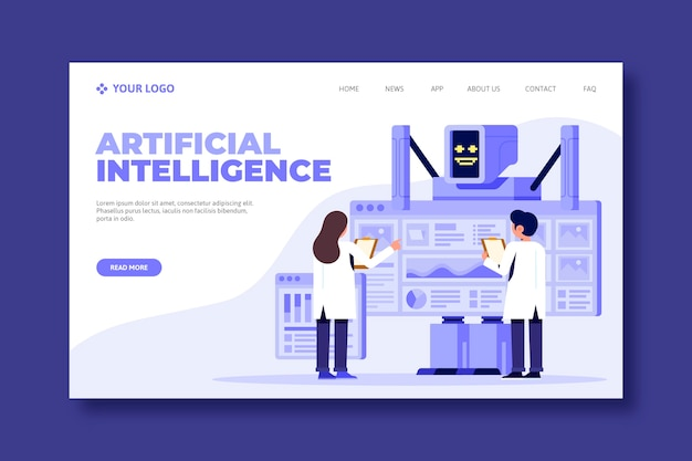 Concept de page de destination de l'intelligence artificielle