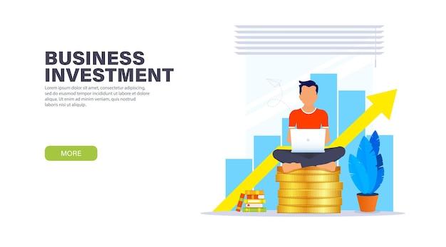 Concept de page de destination d'investissement commercial.