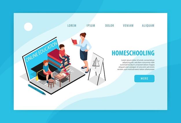 Concept de page de destination isométrique famille homeschooling