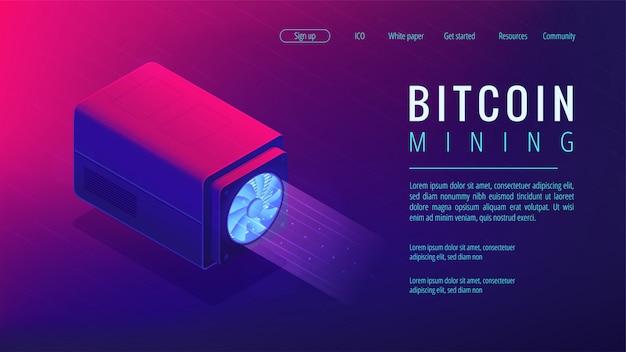 Concept de page de destination minière isométrique bitcoin.