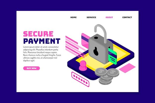 Concept de page de destination de paiement sécurisé