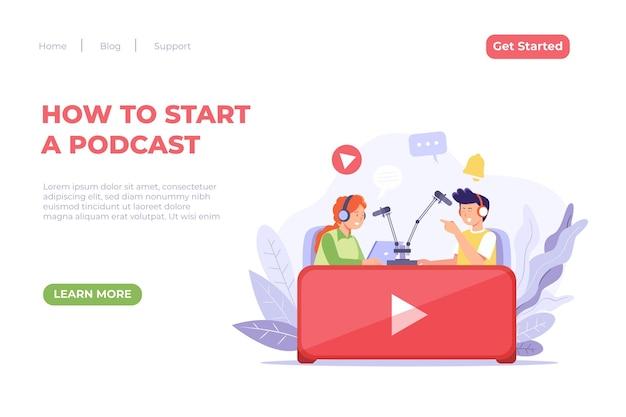 Concept de page de destination de podcast