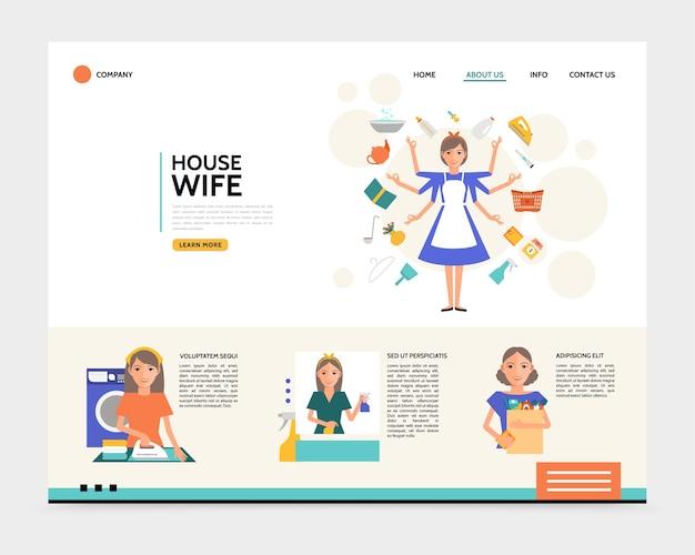 Concept de page de destination pour femme au foyer plat