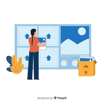 Concept de page de destination pour le téléchargement d'images