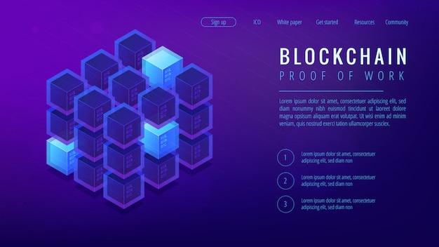 Concept de page de destination de preuve de travail blockchain isométrique.
