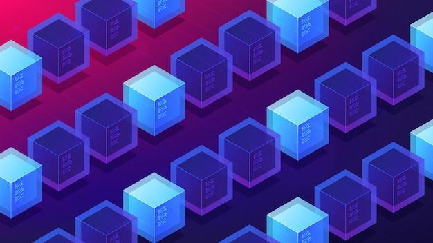 Concept de page de destination de preuve de travail minier isométrique blockchain.