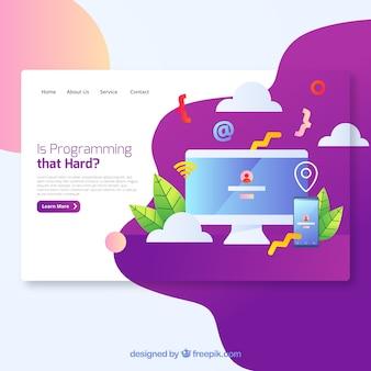 Concept de page de destination de programmation moderne