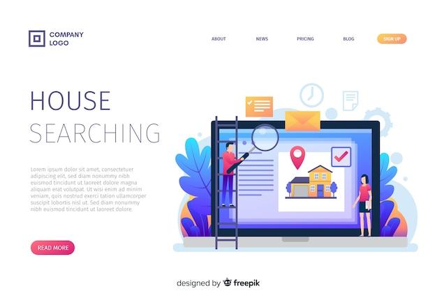 Concept de page de destination recherche maison