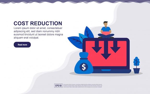 Concept de page de destination de réduction des coûts.