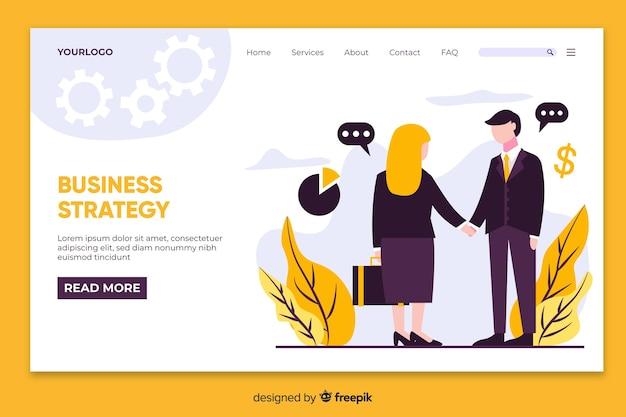 Concept de page de destination avec stratégie commerciale