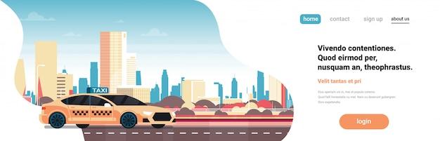 Concept de page de destination avec taxi jaune