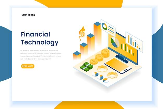 Concept de page de destination de la technologie financière