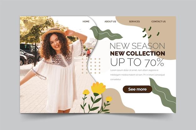 Concept de page de destination de vente de printemps