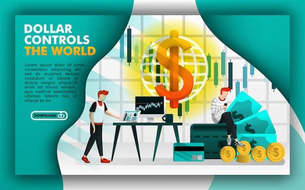 Concept de pages web pour dollar contrôle le monde