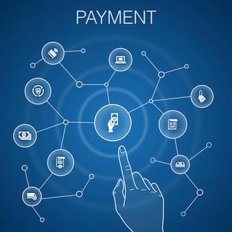 Concept de paiement, fond bleu. facture, argent, facture, icônes de remise