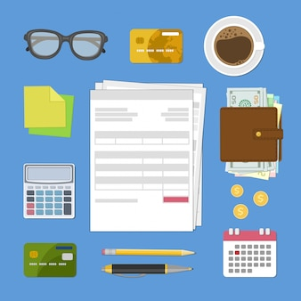 Concept de paiement d'impôt et de facture.