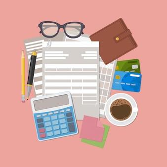 Concept de paiement d'impôt. factures de paiement, reçus, factures. formalités administratives. formulaire de facture papier, portefeuille, cartes de crédit, calculatrice, stylo, crayon, café, verres, autocollants pour les notes. illustration.