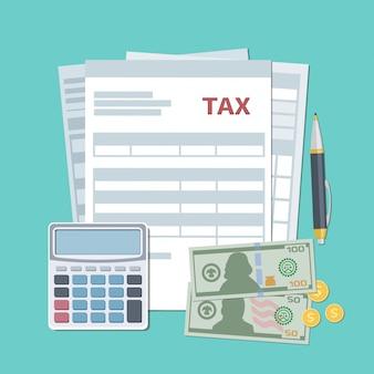 Concept de paiement d'impôt. taxes d'état, calcul. vue de dessus. illustration au design plat.