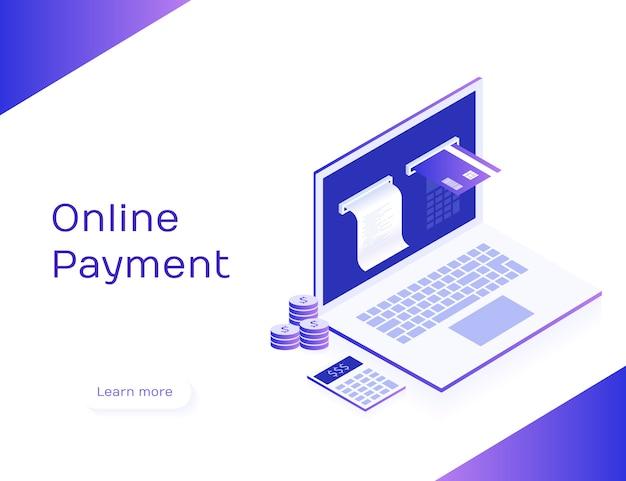 Concept de paiement en ligne. facture électronique et banque en ligne, ordinateur portable avec chèque et carte de paiement. illustration isométrique 3d moderne