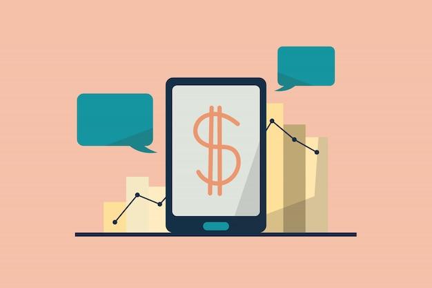 Concept de paiement en ligne financier