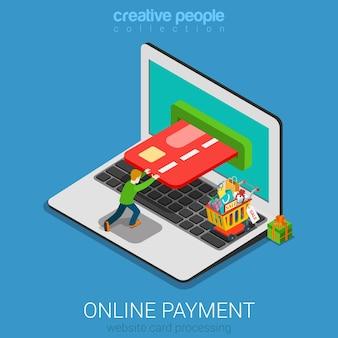 Concept de paiement en ligne isométrique plat