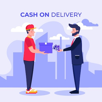 Concept de paiement à la livraison illustré