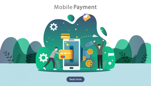 Concept de paiement mobile ou de transfert d'argent. illustration d'achats de marché en ligne.