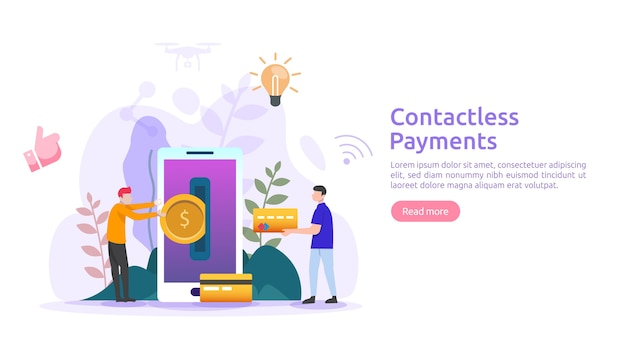 Concept de paiement mobile ou de transfert d'argent. paiements sans contact, sans fil ou sans numéraire avec la bannière de la technologie nfc pour smartphone